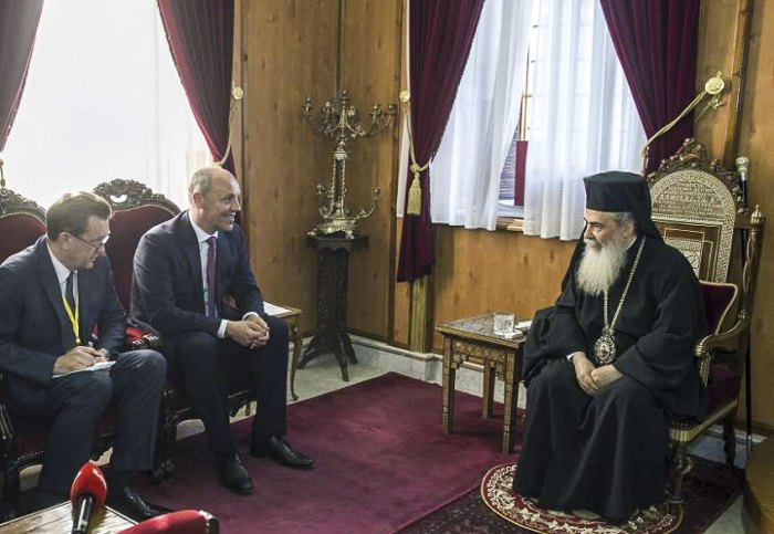 Встреча председателя Верховной Рады Андрея Парубия с патриархом Теофилом ІІІ во время официального визита в государство Израиль