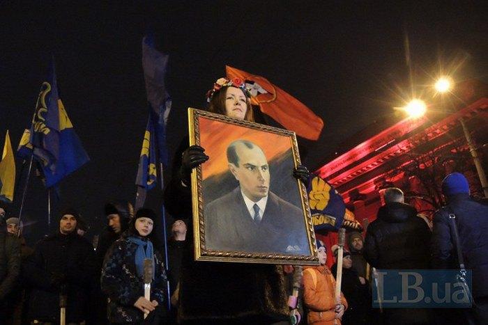 ВКиеве прошло факельное шествие вчесть Бандеры