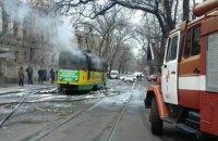 В центре Одессы сгорел трамвай