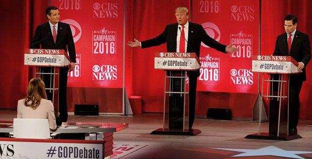 Круз(слева), Трамп(в центре) и Рубио во время дебатов