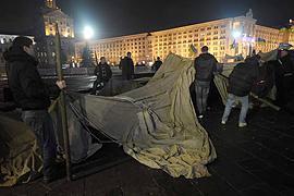 Милиция разобрала палаточный городок предпринимателей