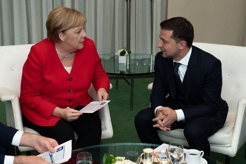Владимир Зеленский и Ангела Меркель на полях 74-й Генассамблеи ООН