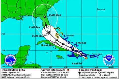 """У Флориді запроваджено НС через тропічний шторм """"Еріка"""""""