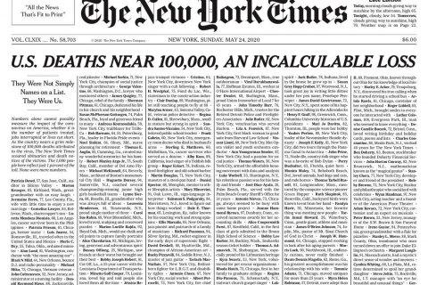 New York Times отвела первую полосу газеты именам жертв COVID-19 в США