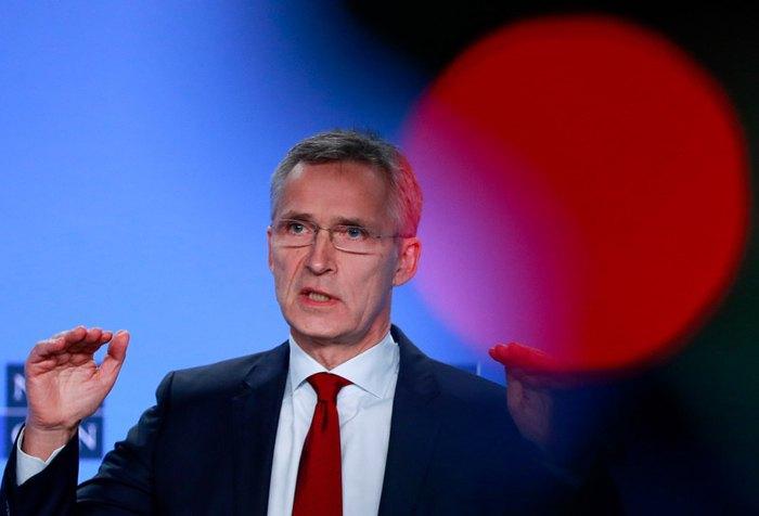Генсек НАТО Йенс Столтенберг під час прес-конференції по ситуації в Україні в штаб-квартирі НАТО в Брюсселі, Бельгія, 26 листопада 2018.