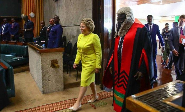 Матвиенко во время визита в Намибию. 20 февраля 2020