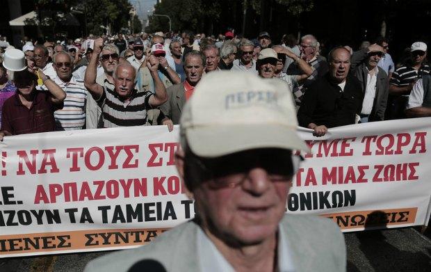 Акция протеста пенсионеров в Афинах