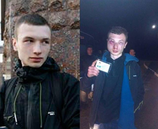 Активіст Сергій Бондар до і після сьогоднішньої зустрічі з міліцією