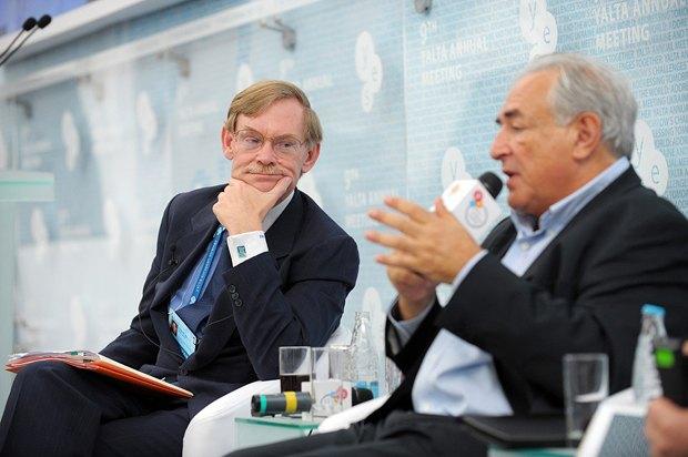 Глава Всемирного Банка Роберт Зеллик и экс-глава МВФ Доминик Стросс-Кан