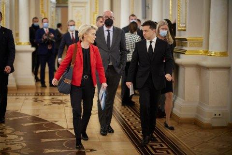 """""""Разом з ЄС ми єдині, що відповідальність за відсутність прогресу у мирному врегулюванні на Донбасі лежить на РФ"""", – Зеленський"""