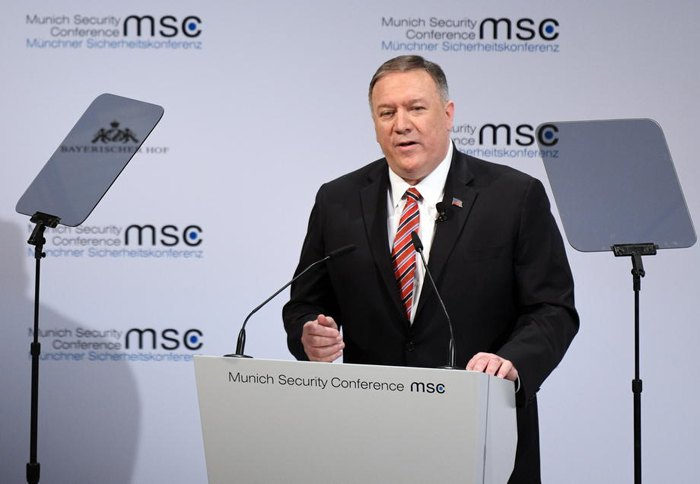 Госсекретарь США Майк Помпео во время конференции