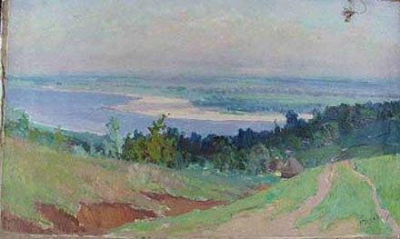 Картина «Село возле речки». Снимок сделан перед передачей картины в Кабмин в 2001 году