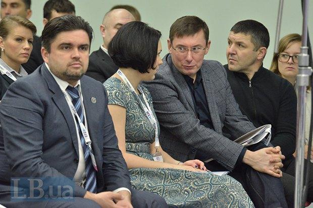 Маркиян Лубкивский, Соня Кошкина и Юрий Луценко, глава фракции <<Блок Петра Порошенко>>