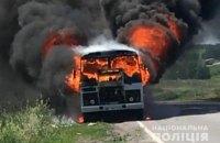 """На трасі в Полтавській області згорів автобус """"Горішні Плавні - Кобеляки"""""""