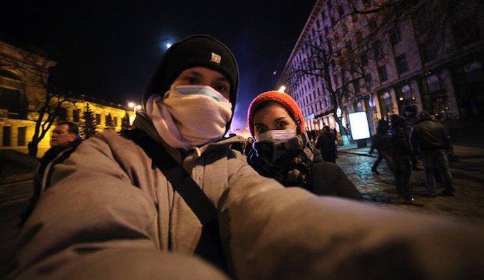 Во время Майдана. Никон Романченко и Настя Весна