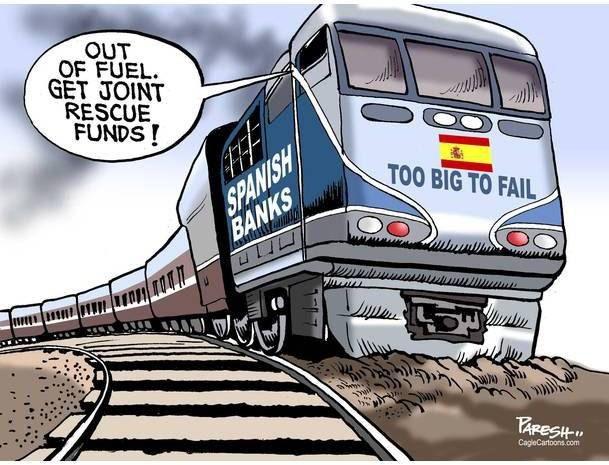 """Экономика Испании """"слишком большая, чтобы рухнуть"""" Из поезда доносится: Топливо кончилось, пора открывать неприкосновенные запасы"""