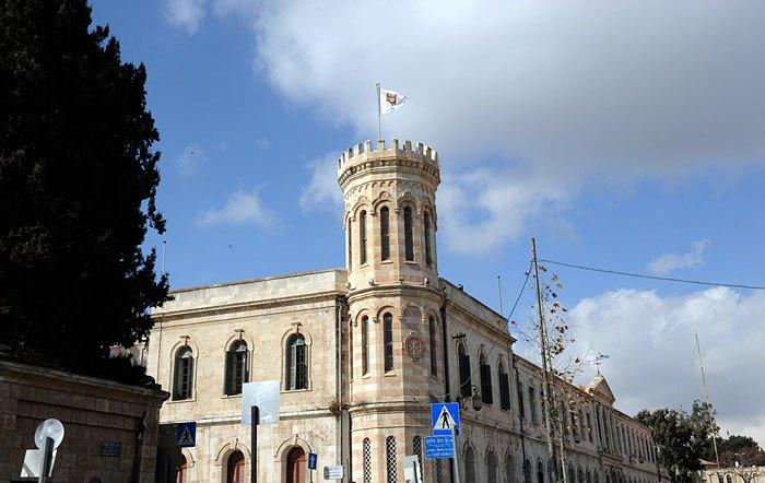 Флаг ИППО на Сергиевском подворье в Иерусалиме, 13 января 2010 г.