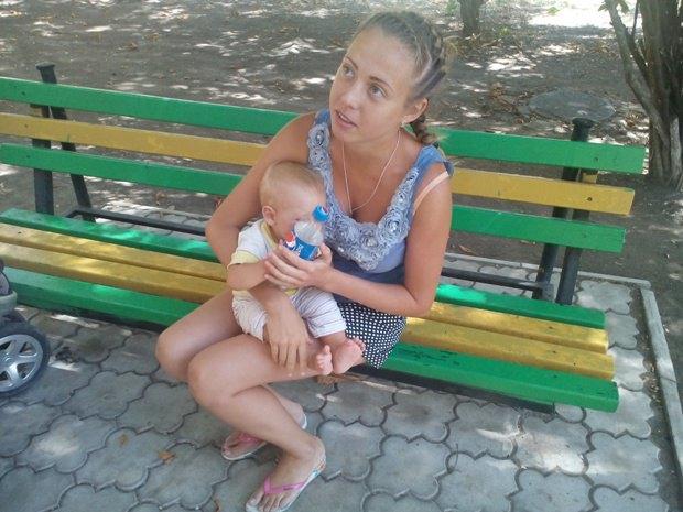 Екатерина из Луганска, приехала с ребенком