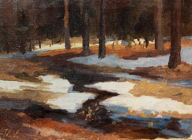 Зима. Відлига. Початок ХХ століття. Полотно, олія. 15,5х22,5