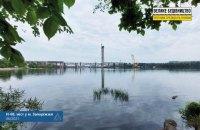 В Запорожье пилон вантового моста соединили с левым берегом Днепра