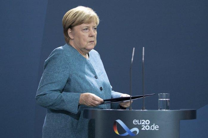 Ангела Меркель выступает с заявлением об отравлении Навального, Берлин, 2 сентября 2020 г.