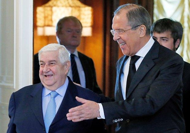 Глава МИД России Сергей Лавров и его сирийский коллега Валид Муаллем