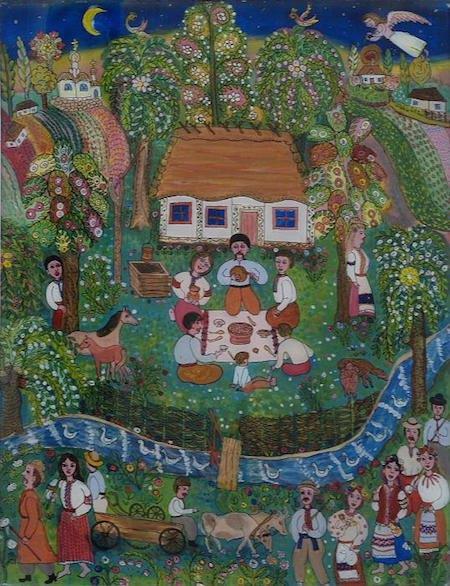 «Садок вишневий коло хати», 1988. Олія, скло. Національний музей українського народного декоративного мистецтва