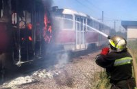 В Кривом Роге во время движения загорелся трамвай с пассажирами