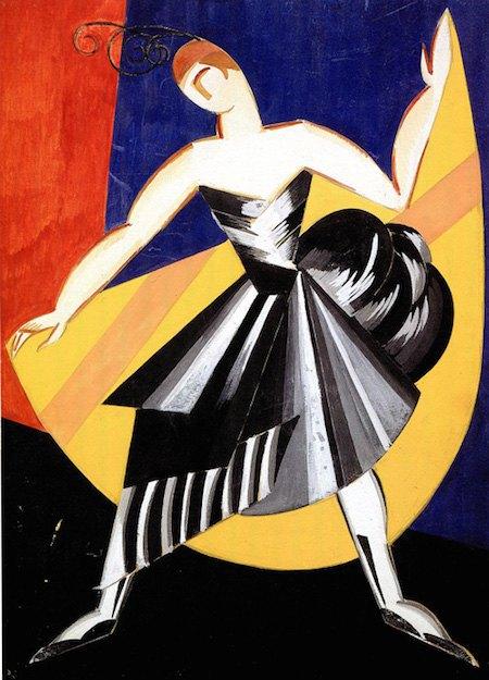 """Ескіз іспанського костюму з серії """"Танці Елізи Крюгер"""", для балетної студії Б.Ніжинської. 1912. Гуаш, папір, туш."""