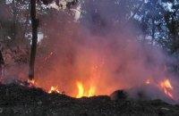 У Києві гасили пожежу біля вертолітного майданчика