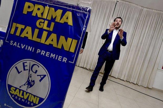 Маттео Сальвини во время предвыборной кампании в Кальвиццано, Италия, 21 февраля 2018.