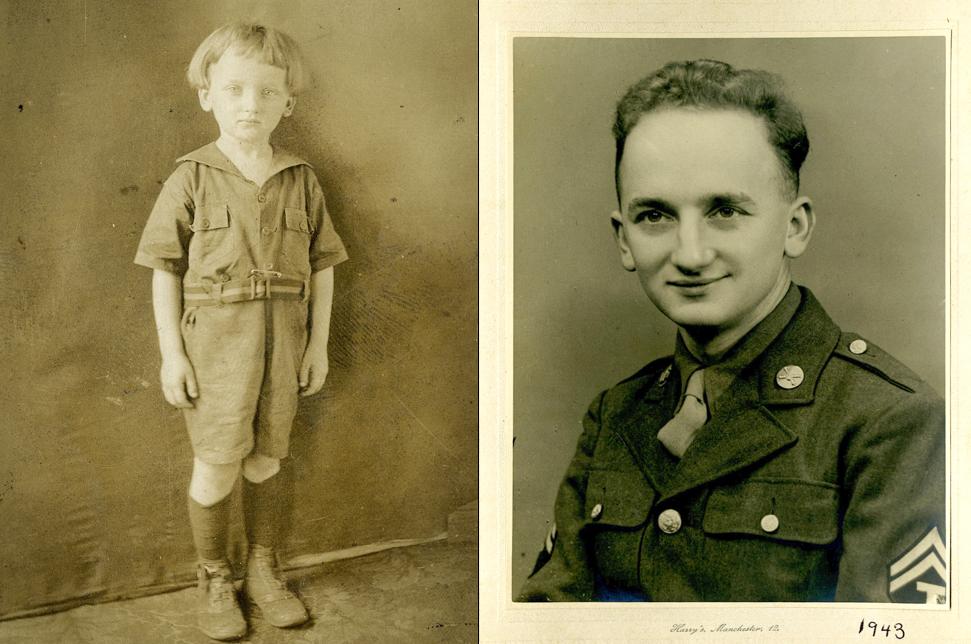 Бен в 8-летнем возрасте (слева). Солдат армии США, 1943.