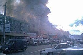 В центре Днепропетровска горит крупный вещевой рынок
