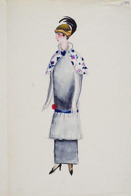 Мария Синякова. Эскиз женского костюма. 1920-е