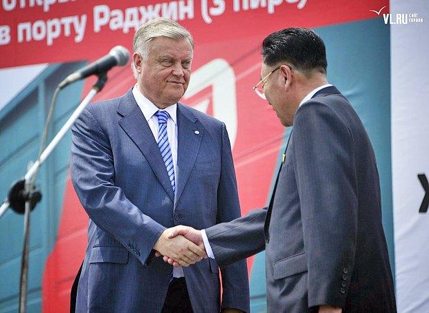Владимир Якунин на открытии станции Раджин