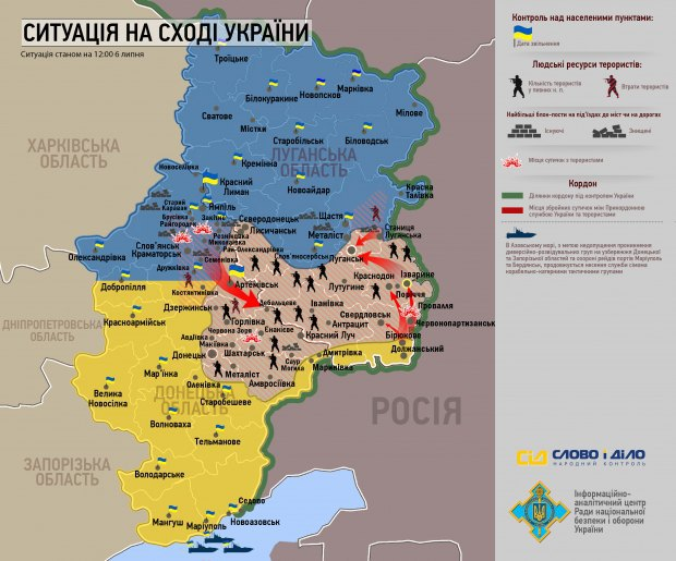 Карта АТО на 6 июля