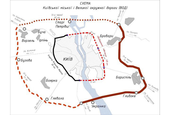 Схема будівництва Київської окружної дороги