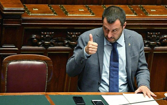 Заступник прем'єр-міністра Італії та міністр внутрішніх справ Маттео Сальвіні на засіданні Палаті депутатів, Рим, 05 березня 2019 .