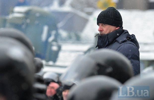 Петр Федчук на Грушевского в январе 2014 г.
