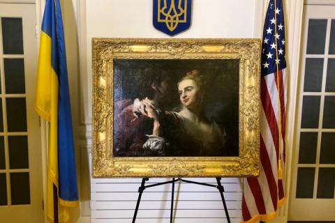 """Через 77 років після викрадення в Україну повернулася картина П'єра Луї Гудро """"Закохані"""""""