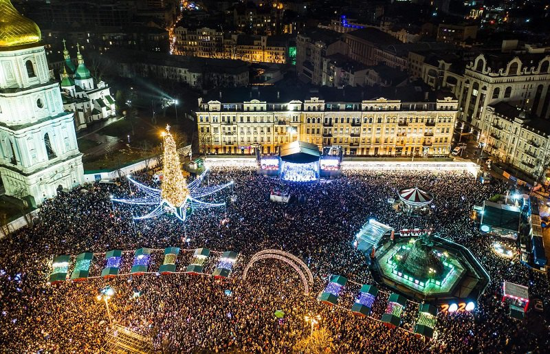 Новий рік на Софійській площі в Києві