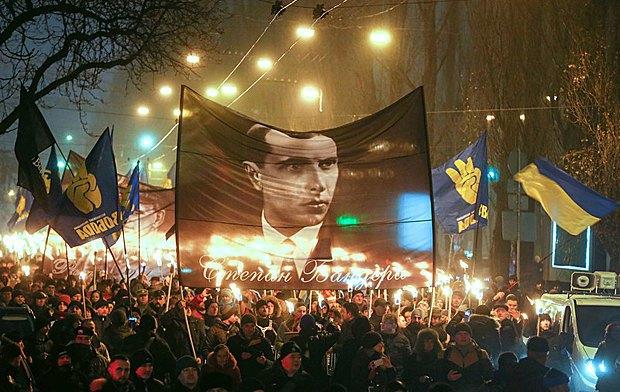 Украинцы отмечают 108-ю годовщину рождения Степана Бандеры, Киев,1 января 2017.