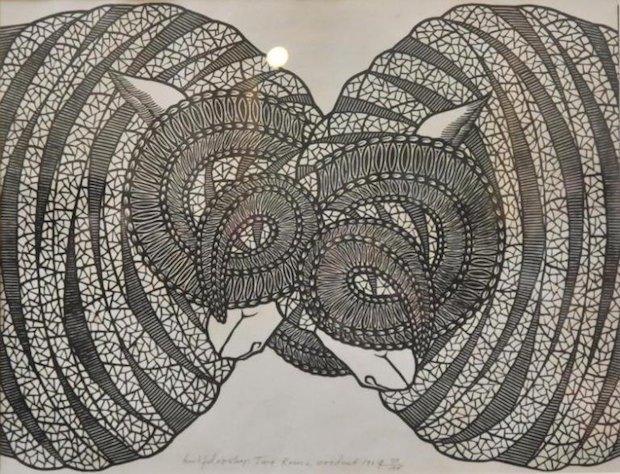 Яків Гніздовський «Два барани», 1969. Дереворит