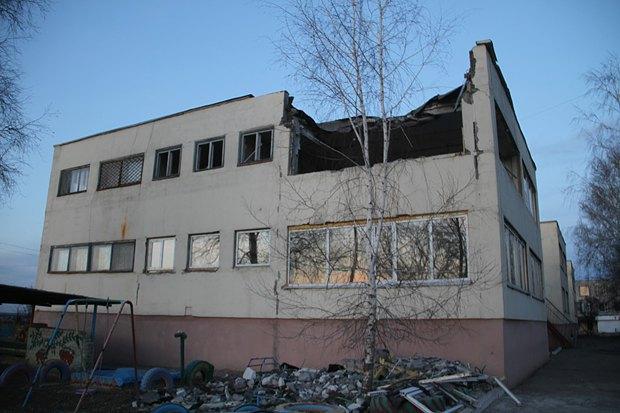 Детский сад после обстрела
