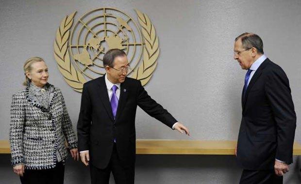 Хиллари Клинтон, Пан Ги Мун и Сергей Лавров предпринимают совместные усилия для урегулирования конфликтов