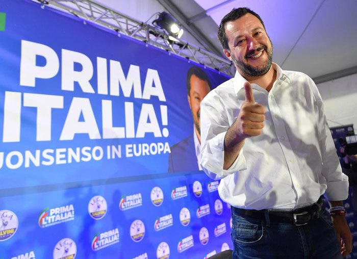 Маттео Сальвіні під час прес-конференції партії в Мілані, Італія, 27 травня 2019.