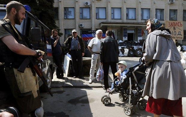 Возле Краматорского горсовета во времена оккупации