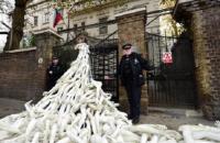 """Протестующие принесли под посольство РФ в Лондоне """"оторванные"""" конечности"""