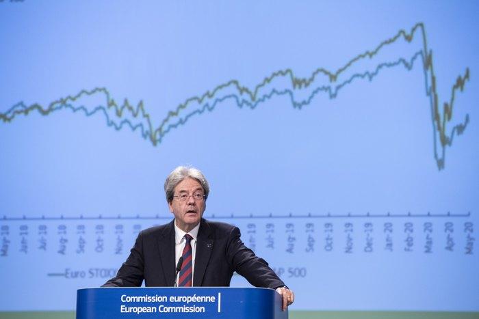 Прес-конференція європейського комісара з питань економіки Паоло Джентілоні щодо весняного економічного прогнозу