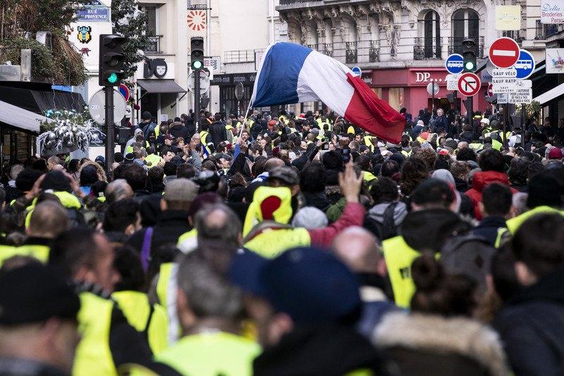 Акция 'желтых жилетов' в Париже, 23 декабря 2018